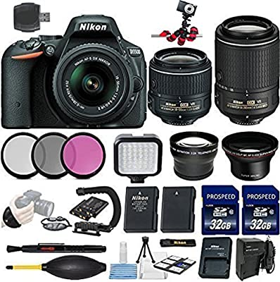 Nikon D5500 DSLR Camera + 18-55mm VR II + 55-200mm VR II + 2 Pcs 32GB Memory Cards + Flash + Multi-Coated 3 Piece Filter Kit + Tripod + UV Filter+ Card Reader + Deluxe Starter Kit
