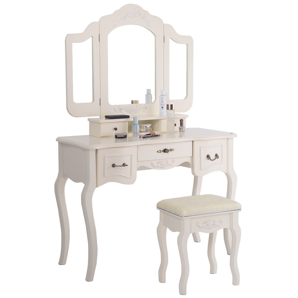 Tri Folding Vintage White Vanity Makeup Dressing Table Set 5 Drawers &stool 1