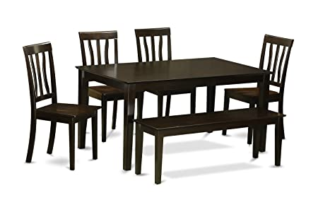 East West Furniture CAAN6-CAP-W 6-Piece Dining Table Set with Bench