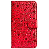 Purple Eyes ABC Artificial Leather Flip Cover Case For Apple Iphone 5C (Red)