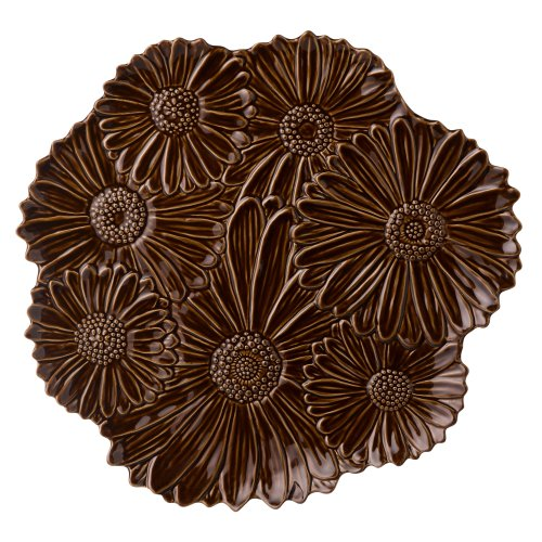 Grasslands Road Chocolate Ceramic Spring Meadow Daisy Platter, 14-Inch