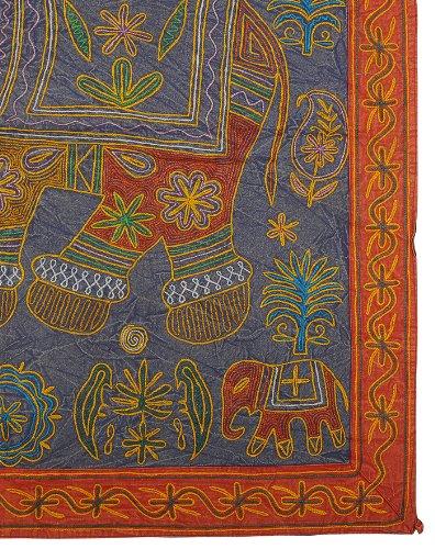 Imagen 3 de Elephant algodón Tapices de pared colgante con tamaño del bordado de trabajo 34 x 34 pulgadas