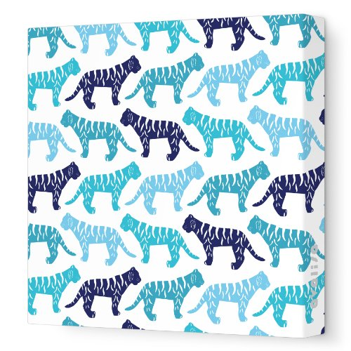 "Avalisa Stretched Canvas Nursery Wall Art, Tiger Pattern, Blue, 18"" x 18"""