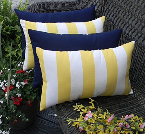 Set of 4 Indoor / Outdoor Decorative Lumbar / Rectangle Pillows - 2 Yellow and White Stripe and 2 Solid Navy Blue