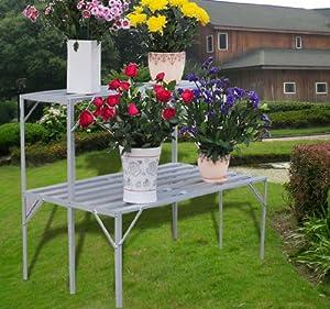 table porte plante jardiniere etagere en aluminium pour. Black Bedroom Furniture Sets. Home Design Ideas