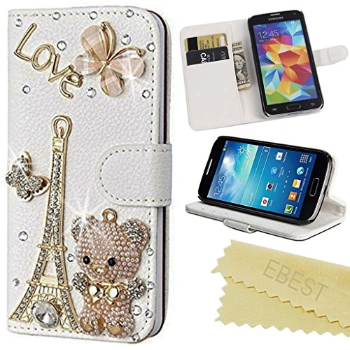 LG G Stylo Case, EBEST Handmade Bling Crystal Rhinestone Folio Wallet Stand PU Leather Case with cash/card holder For LG G Stylo, H631, MS631, LS770, bear tower (Remove Card On Account compare prices)