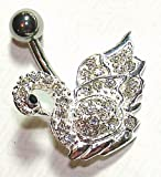 Belly Bars - Pierced & Modified - Body Jewellery - Crystal Sterling Silver Navel Bar - White Swan