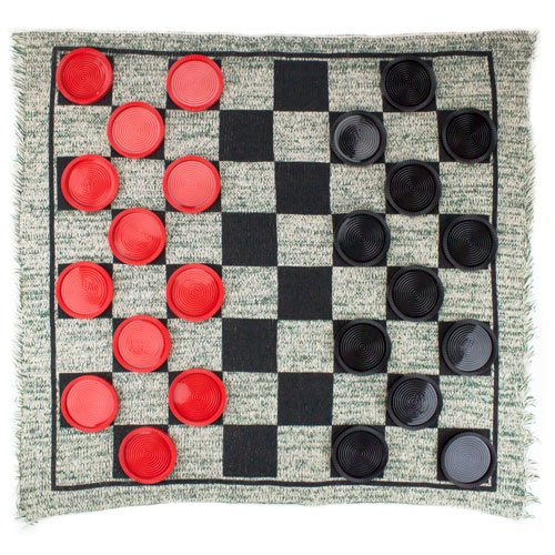3 in 1 Checker, Tic Tac Toe, and Mega Tic Tac Toe Giant Rug Game - Includes Bonus Deck of Cards!