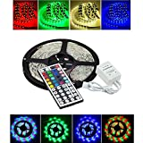 16.4ft 12V Flexible LED Light Strip, KLAREN LED Tape Light 5050 RGB Color Changing LED Strip Kit Waterproof for DIY Christmas Holiday Home Kitchen Car Bar Party Decoration