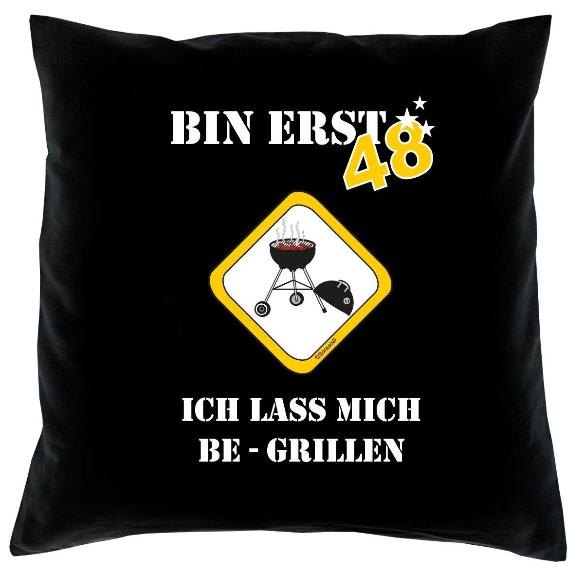 48. Geburtstag Kissen, Sitzkissen, Sofakissen, Dekokissen Bin erst 48! Farbe: Schwarz komplett mit Füllung 40x40cm Größe: 40x40cm
