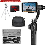 Zhiyun Smooth 4 3 Axis Handheld Gimbal Camera Stabilizer for Smartphones (ZHSMOOTH4) Essentials Bundle with Case, Targus 58 Inch Tripod, 32gb High Speed Card, and One Year Warranty Extension