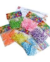 """388kidi """"MON SACHET CREA"""" Lot de 1200 Elastiques CASINO (6 sachets de 200pcs - Violet/Blanc, Bleu/Blanc, Rose fluo/Blanc, Vert/Blanc, Jaune/Blanc, Orange Fluo/Blanc) + 6 Crochets + Clips S + Notice visuelle en français 388kidi """"Mon premier bracelet"""" - Pour Métier à Tisser (Loom) Bracelet - 100% compatible Rainbow Loom, Cra-Z-Loom et autres kits loom - LOOM-2CAS"""