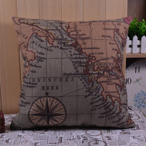 European Map Ionisches Meer World Map Compass Cushions Covers Pillow Cases front-741622