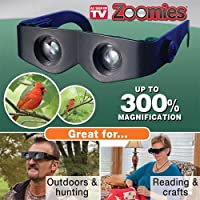 Zoomies Hands-Free Binoculars You Wear Like Sunglasses - Maginifying by 400% - Anti-Glare Adjustable Eyewear - Ideal for Sports, Concerts, Sewing, Reading, Crafts, Hunting, Outdoors (As Seen On TV) by Zoomies