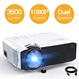 PROYECTOR, APEMAN MINI PORTABLE 3500L VIDEO PROYECTOR LED, con altavoces duales 45000 horas Soporte HD 1080P HDMI/VGA/TF/AV/USB, Laptop/TV Box/ Phone/PS4 para entretenimiento en el cine en casa [Versión sin ruido]