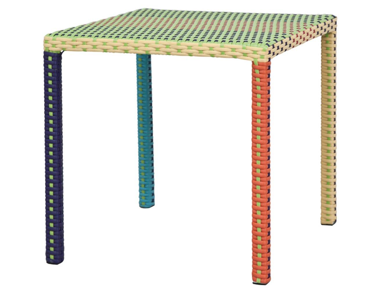 Siena Garden 925668 Kindertisch Mini Wien, Stahl-Untergestell, Gardino-Geflecht lila / orange, 46.5 x 46.5 x 50 cm