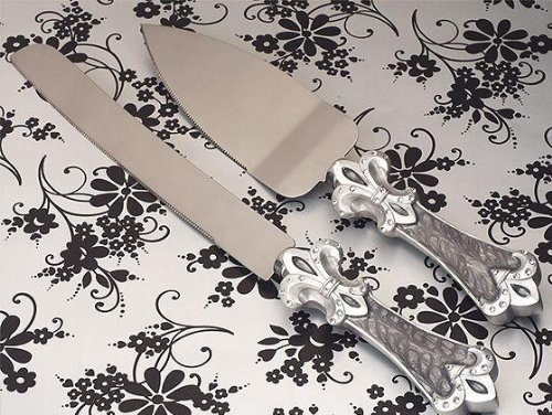 Platinum Fleur De Lis Collection Cake And Knife Set C1758 Quantity Of 1