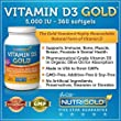 Vitamin D3 5000 IU, 360 Mini Softgels (GMO-free, Preservative-free, Soy-free, USP Grade Natural Vitamin D in Organic Olive Oil) by Nutrigold