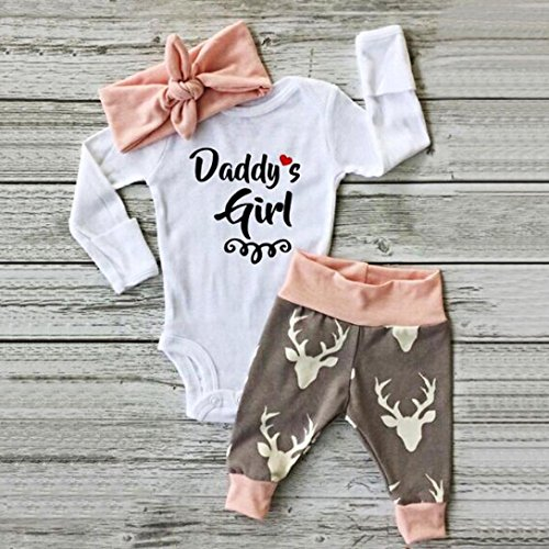 Clothes Set ,BeautyVan Kid Xmas Newborn Baby Girl Romper Bodysuit+Pants Hairband Clothes Outfits Set (12M, White)
