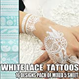 Bluezoo-Henna-Body-Paints-Tattoos-Stickers-Whitelace-Tattoo-for-Girlswomen-Necklacebracelets-Patterns-Pack-of-Mixed-5-Random-Sheets