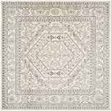 Safavieh Adirondack Collection ADR108B Ivory and Silver Square Area Rug, 8 feet Square (8' Square)
