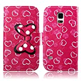 Fashion Youth Series Cute Design Rose Pink Love Heart Bow Bowknot Wallet Flip Case Folio PU Leather Stand Cover with Card Slots for Samsung Galaxy S5 Mini G800 + Free Lovely Gift
