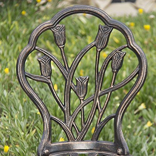Best Choice Products Outdoor Patio Furniture Tulip Design Cast Aluminum Bistro Set in Antique Copper 3