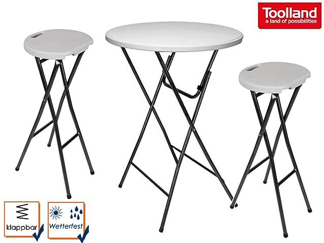 Stabile Set Tavolo e 2Sgabelli da bar, pieghevole bianco Ø 80cm, fps195–145