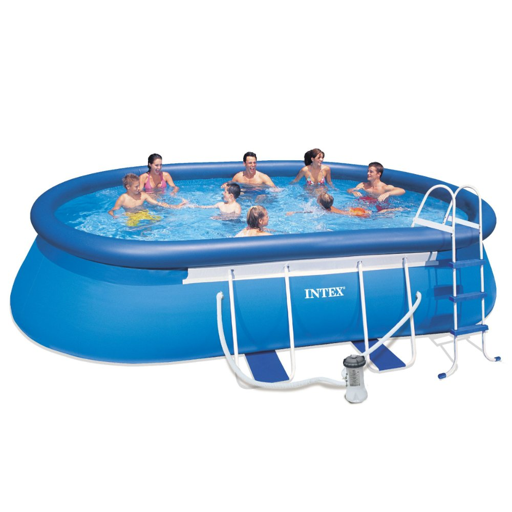 intex 18ft x 10ft x 42in oval frame pool set ebay. Black Bedroom Furniture Sets. Home Design Ideas