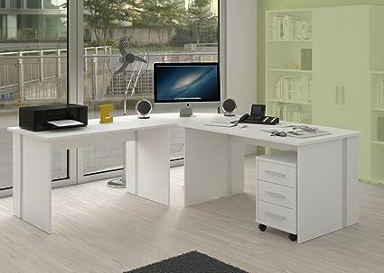 Eckschreibtisch fur Buro oder Arbeitszimmer mit Rollcontainer - 4 teilig in weiss
