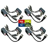Evertech 4 Pairs HD Video Audio Power Balun Compatible with 1080P/720P TVI AHD CVI Analog CCTV Cameras ( tested well ) Network Transceiver Connectors CAT5/CAT6 to BNC