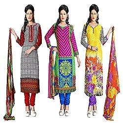 ZHot Fashion Women's Printed Un-stitched 3 Combo Dress Material In Cotton Fabric (ZH08-11-12) Multi