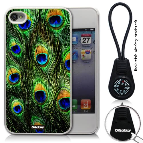 Oksobuy® -The New Apple Iphone 4/4s Peacock Feather Style Background Case Cover Skin Protection for the Iphone 4/4s (Apple Iphone 4/4s Case,white)-0318