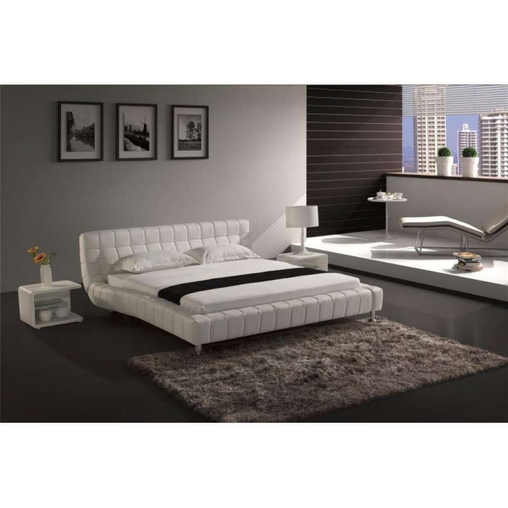 JUSThome Brooklyn Weiß Polsterbett Ekoleder Größe 140x200 cm