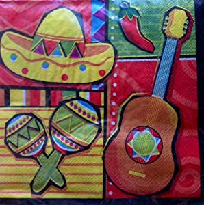 Amazon.com: Mexican Party Fiesta Lunch Dinner Napkins 20ct: Toys