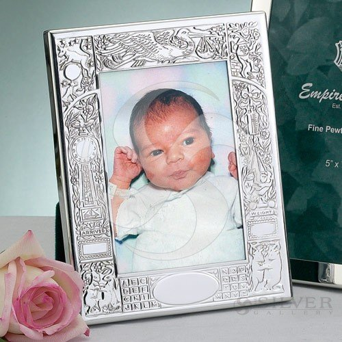 Heirloom quality fine pewter BIRTH RECORD for the new born - 4x6