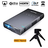 ExquizOn DLP Mini Projector, High Brightness Pico Video Projector Support 1080P HDMI USB TF Micro SD Card AV Ideal for Camp Backyard Outdoor Movie Night Home Cinema TV Laptop Game, Black-Silver (Tamaño: S1)