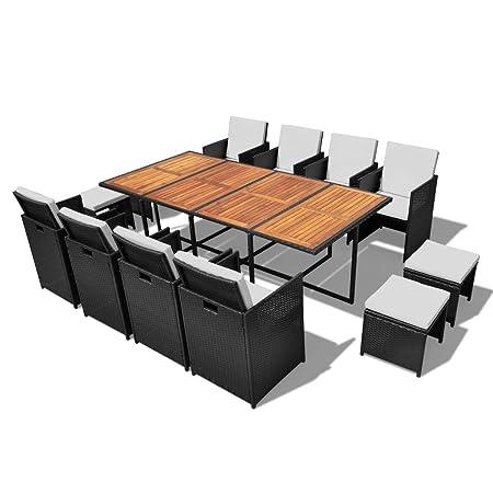 vidaXL 33piezas muebles de jardín Essgruppe Asiento Grupo Mobiliario de jardín ratán Madera de Acacia