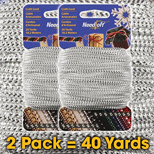 Great Deal! #08 Metallic White Silver - Needloft Craft Cord 2 Pack 40 Yards (2x20yds)