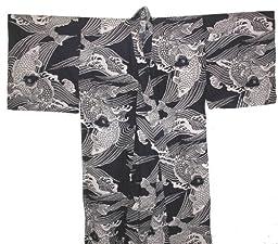 Japanese Men's Yukata Kimono Robe Koi Navy 56in Size S