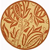 """Safavieh Courtyard Collection CY2961-3201 Natural and Terra Round Area Rug, 6 feet 7 inches in Diameter (6'7"""" Diameter)"""