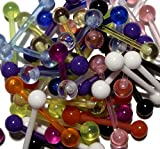 10 Assorted UV Flexible Barbell Tongue Rings 14 Gauge