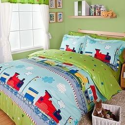 Norson Fantastic Journey By Train Duvet Cover Set Green Boys Bedding Kids Bedding, Full Size (Twin)