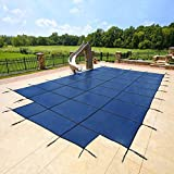 16'x32' Blue Mesh - CES Rectangle Inground Safety Pool Cover - 15 Year Warranty - 16 ft x 32 ft In Ground Winter Cover with 4'x8' Center End Steps