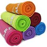 """Cooling Towel for Instant Relief - 40"""" Long As Scarf, XL Ultra Soft Compact Mesh Sports Fitness Towels - Keep Cool for Gym Running Biking Hiking Yoga Golf, with Carabiner Waterproof Bag Packaging"""