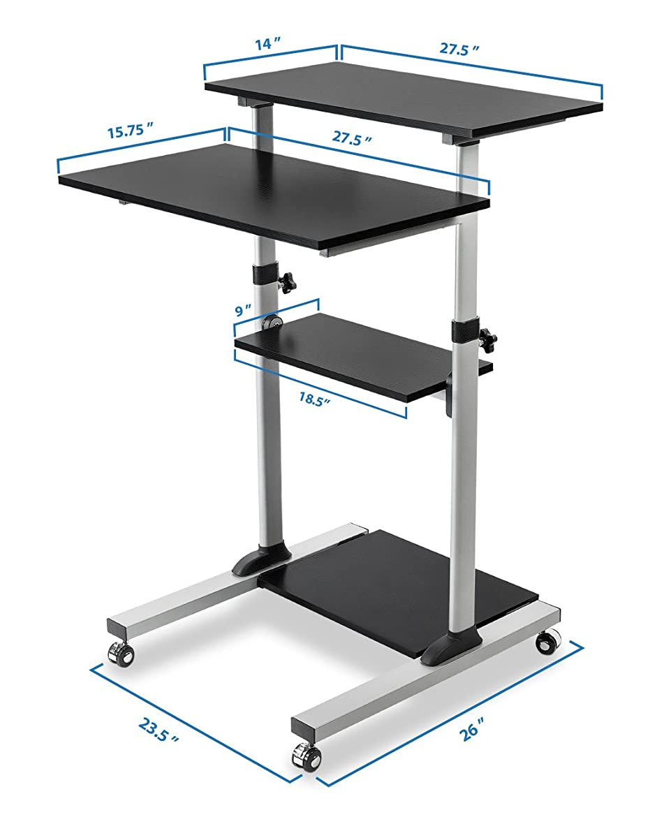 Mount-It! Mobile Stand Up Desk / Height Adjustable Computer Work Station Rolling Presentation Cart (MI-7940) (Stand-Up Desk)
