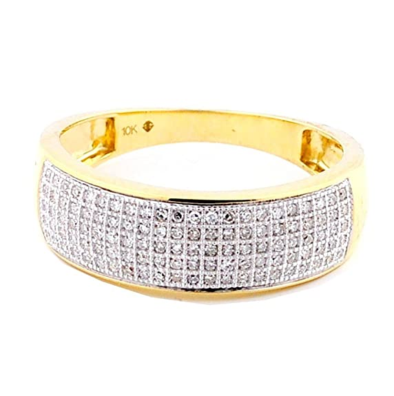 Rings-MidwestJewellery.com Men's Diamond Ring 1/4Cttw 7Mm Wide Band Pave Set Round Diamonds (I2/3, I/J)