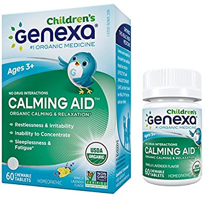 Genexa Calming & Sleep Aid for Children: Certified Organic, Homeopathic, Physician Formulated, Natural, Non-GMO. Relaxation, Restlessness & Sleep Supplement for Children (60 Chewable Tablets)