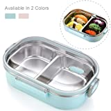 Bento Box Food Container Leakproof Food Grade Stainless Steel Double Insulated Asian Japanese Bento Box by CHOEES (? Blue) (Color: ? Blue, Tamaño: Large)