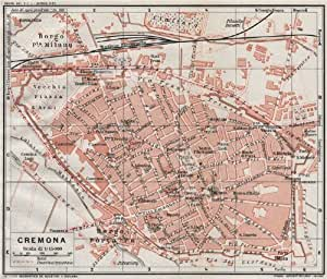 .com: CREMONA. Vintage town city map plan. Italy;1924: Home & Kitchen